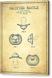 Pacifier Handle Patent From 1988 - Vintage Acrylic Print