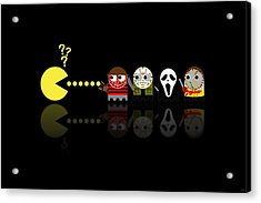 Pacman Horror Movie Heroes Acrylic Print by NicoWriter