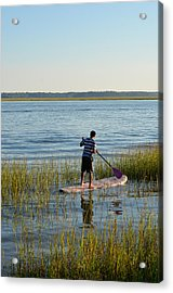 Acrylic Print featuring the photograph Paddleboarder by Margaret Palmer