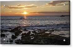 Paddlers At Sunset Horizontal Acrylic Print by Denise Bird