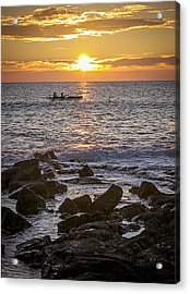 Paddlers At Sunset Portrait Acrylic Print