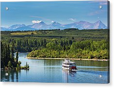 Paddlewheel Boat On Lake With Tree Acrylic Print