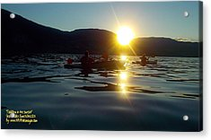 Acrylic Print featuring the photograph Paddling In The Sunset by Guy Hoffman