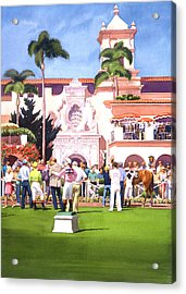 Paddock At Del Mar Acrylic Print by Mary Helmreich
