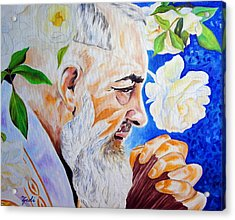 Acrylic Print featuring the painting Padre Pio by Ze  Di
