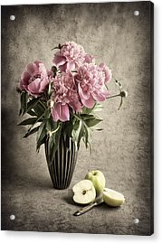 Paeony And Apples Acrylic Print by Jitka Unverdorben