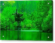 Pagoda On West Lake Acrylic Print by Larry Moloney