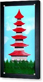 Acrylic Print featuring the mixed media Pagoda by Ron Davidson