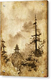 Acrylic Print featuring the painting Pagoda Valley Altered by Sean Seal