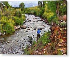 Pagosa Springs Colorado Fisherman Acrylic Print