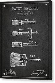 Paint Brushes Patent From 1873 - Charcoal Acrylic Print by Aged Pixel