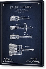 Paint Brushes Patent From 1873 - Navy Blue Acrylic Print by Aged Pixel