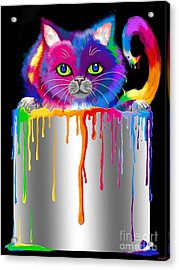 Paint Can Cat Acrylic Print by Nick Gustafson