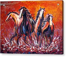 Acrylic Print featuring the painting Paint Horse Stampede by Jennifer Godshalk