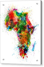 Paint Splashes Map Of Africa Map Acrylic Print by Michael Tompsett