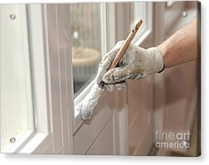 Paintbrush With White Paint In Hand Acrylic Print