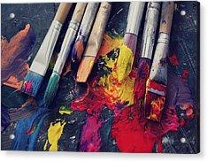 Paintbrushes  Acrylic Print by Bella  Harris