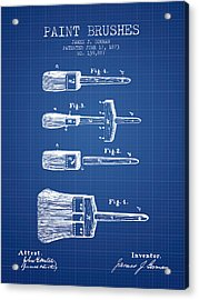 Paintbrushes Patent From 1873 - Blueprint Acrylic Print by Aged Pixel