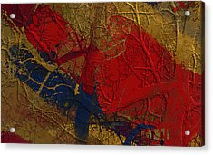 Painted And Etched Brass Acrylic Print by Constance Krejci