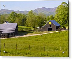 Painted Barn Quilt Two And A Half Acrylic Print by Robert J Andler