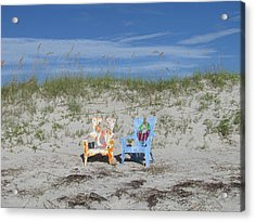 Painted Beach Chairs Acrylic Print by Ellen Meakin