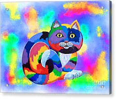 Painted Cat Acrylic Print by Nick Gustafson