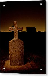 Painted Cross In Graveyard Acrylic Print by Jean Noren