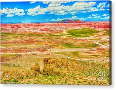 Painted Desert National Park Panorama  Acrylic Print by Bob and Nadine Johnston