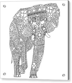 Painted Elephant Black White Acrylic Print