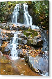Painted Falls In The Smokies Acrylic Print by Dan Sproul