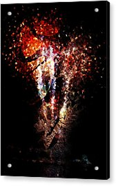 Painted Fireworks Acrylic Print by Andrea Barbieri