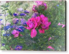 Painted Garden Acrylic Print by Larry Bishop
