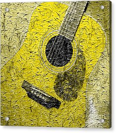 Painted Guitar - Music - Yellow Acrylic Print by Barbara Griffin