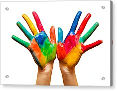 Painted Hands On White Acrylic Print by Michal Bednarek
