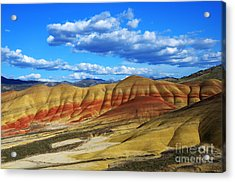 Painted Hills Blue Sky 3 Acrylic Print by Bob Christopher