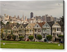 Painted Ladies Row Houses And San Francisco Skyline Acrylic Print