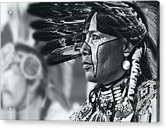 Painted Native In Silver Screen Tone Acrylic Print by Scarlett Images Photography