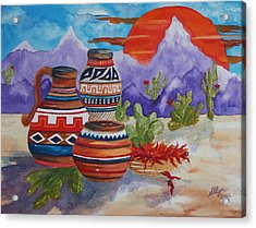 Painted Pots And Chili Peppers Acrylic Print