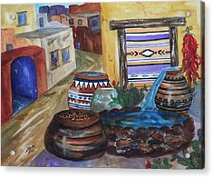 Painted Pots And Chili Peppers II  Acrylic Print