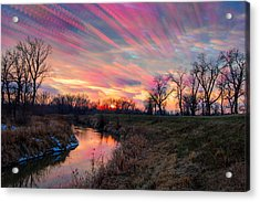 Painted Sky Of Pink And Blue Acrylic Print