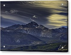 Painted Sky Over Longs Peak Acrylic Print by Tom Wilbert