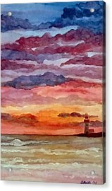 Painted Sky Over Ocean Acrylic Print