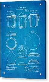 Painter Bottle Cap Patent Art 1892 Blueprint Acrylic Print by Ian Monk