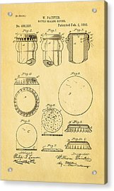 Painter Bottle Cap Patent Art 1892 Acrylic Print by Ian Monk