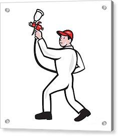 Painter Spray Paint Gun Side Cartoon Acrylic Print by Aloysius Patrimonio