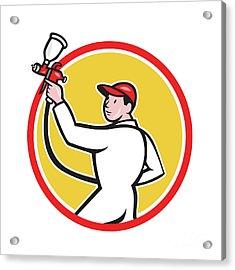 Painter Spray Paint Gun Side Circle Cartoon Acrylic Print by Aloysius Patrimonio