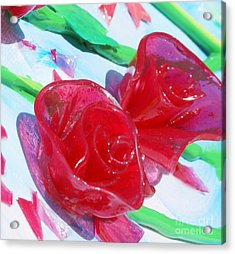 Painterly Stained Glass Looking Flowers Acrylic Print by Ruth Collis