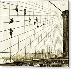 Painters On The Brooklyn Bridge 1914 Acrylic Print by Mountain Dreams