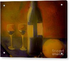 Acrylic Print featuring the painting Painting And Wine by Lisa Kaiser