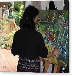 Painting My Backyard 2 Acrylic Print by Becky Kim